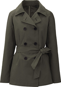 Women Short Trench Coat 58 Dark Green - pattern: plain; length: standard; style: trench coat; collar: standard lapel/rever collar; predominant colour: dark green; occasions: casual, work; fit: tailored/fitted; fibres: polyester/polyamide - mix; waist detail: belted waist/tie at waist/drawstring; sleeve length: long sleeve; sleeve style: standard; collar break: medium; pattern type: fabric; pattern size: standard; texture group: other - light to midweight