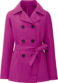 Women Short Trench Coat 11 Pink - pattern: plain; length: standard; style: trench coat; fit: slim fit; collar: standard lapel/rever collar; predominant colour: hot pink; occasions: casual, work; fibres: polyester/polyamide - mix; waist detail: belted waist/tie at waist/drawstring; sleeve length: long sleeve; sleeve style: standard; collar break: medium; pattern type: fabric; pattern size: standard; texture group: other - light to midweight