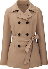 Women Short Trench Coat 32 Beige - pattern: plain; length: standard; style: trench coat; predominant colour: camel; occasions: casual, work; fit: tailored/fitted; fibres: polyester/polyamide - mix; collar: shirt collar/peter pan/zip with opening; waist detail: belted waist/tie at waist/drawstring; sleeve length: long sleeve; sleeve style: standard; collar break: high/illusion of break when open; pattern type: fabric; pattern size: standard; texture group: other - light to midweight