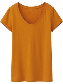 Women Premium Cotton Washed Crew Neck Short Sleeve T 23 Orange - neckline: round neck; pattern: plain; style: t-shirt; predominant colour: bright orange; occasions: casual, holiday; length: standard; fibres: cotton - 100%; fit: straight cut; sleeve length: short sleeve; sleeve style: standard; pattern type: fabric; texture group: jersey - stretchy/drapey