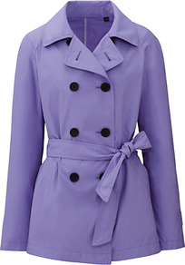 Women Short Trench Coat 73 Purple - pattern: plain; length: standard; style: trench coat; predominant colour: lilac; occasions: casual, work; fit: tailored/fitted; fibres: polyester/polyamide - mix; collar: shirt collar/peter pan/zip with opening; waist detail: belted waist/tie at waist/drawstring; sleeve length: long sleeve; sleeve style: standard; collar break: high/illusion of break when open; pattern type: fabric; pattern size: standard; texture group: other - light to midweight