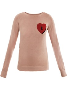 Phima Sweater - pattern: plain, patterned/print; style: standard; predominant colour: nude; occasions: casual; length: standard; fibres: wool - mix; fit: standard fit; neckline: crew; bust detail: contrast pattern/fabric/detail at bust; sleeve length: long sleeve; sleeve style: standard; texture group: knits/crochet; pattern type: knitted - fine stitch; pattern size: small & light
