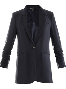 Heather Crepe Jacket - pattern: plain; style: single breasted blazer; hip detail: side pockets at hip; length: below the bottom; collar: standard lapel/rever collar; predominant colour: navy; occasions: casual, evening, work, occasion; fit: tailored/fitted; fibres: polyester/polyamide - 100%; sleeve length: long sleeve; sleeve style: standard; texture group: crepes; collar break: low/open; pattern type: fabric; pattern size: standard