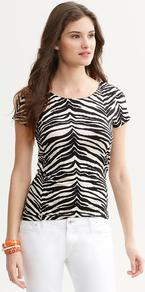 Luxe Touch Zebra Print Tee - neckline: round neck; style: t-shirt; predominant colour: ivory; secondary colour: black; occasions: casual; length: standard; fibres: cotton - mix; fit: body skimming; sleeve length: short sleeve; sleeve style: standard; texture group: jersey - clingy; pattern type: fabric; pattern size: big & busy; pattern: animal print