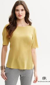 Br Monogram - pattern: plain; predominant colour: gold; occasions: casual, work; length: standard; style: top; fibres: silk - 100%; fit: body skimming; neckline: crew; sleeve length: short sleeve; sleeve style: standard; texture group: silky - light; pattern type: fabric