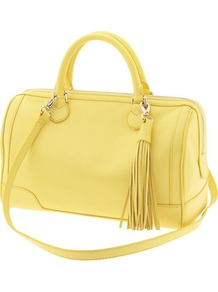 Evan Satchel - predominant colour: primrose yellow; occasions: casual; style: bowling; length: across body/long; size: standard; material: leather; pattern: plain; finish: plain