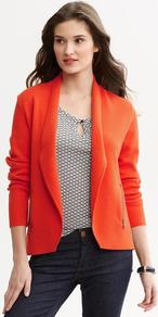 Zip Pocket Sweater Blazer - pattern: plain; style: single breasted blazer; collar: shawl/waterfall; predominant colour: bright orange; occasions: casual, work; length: standard; fit: straight cut (boxy); fibres: cotton - stretch; sleeve length: long sleeve; sleeve style: standard; texture group: cotton feel fabrics; collar break: low/open