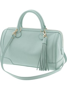 Evan Satchel - predominant colour: pistachio; occasions: casual; style: bowling; length: across body/long; size: standard; material: leather; embellishment: tassels; pattern: plain; finish: plain