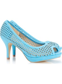 Blue Peep Toe Platform Shoe - predominant colour: pale blue; occasions: evening, occasion, holiday; material: faux leather; heel height: mid; heel: stiletto; toe: open toe/peeptoe; style: courts; finish: plain; pattern: plain