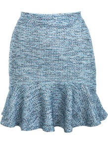 Boucle Pelmet Skirt - length: mid thigh; pattern: plain, herringbone/tweed, patterned/print; fit: tailored/fitted; waist detail: fitted waist; waist: high rise; hip detail: fitted at hip, soft pleats at hip/draping at hip/flared at hip, ruffles/tiers/tie detail at hip; predominant colour: pale blue; occasions: casual, evening, work; style: fit & flare; fibres: acrylic - mix; pattern type: fabric; pattern size: standard; texture group: other - light to midweight
