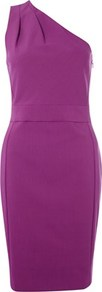 Lagarde Stretch Dress - neckline: off the shoulder; fit: tailored/fitted; pattern: plain; sleeve style: sleeveless; style: asymmetric (top); waist detail: fitted waist; hip detail: fitted at hip; predominant colour: magenta; occasions: casual, evening, occasion; length: just above the knee; fibres: cotton - mix; shoulder detail: structured/bulky pleats/bulky detail at shoulder; sleeve length: sleeveless; texture group: crepes; pattern type: fabric