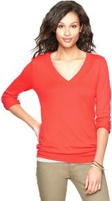 Luxlight V Neck Pullover - neckline: v-neck; pattern: plain; style: standard; predominant colour: true red; occasions: casual, work; length: standard; fibres: cotton - mix; fit: standard fit; sleeve length: long sleeve; sleeve style: standard; texture group: knits/crochet; pattern type: knitted - fine stitch