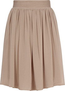 Mason Flared Skirt - pattern: plain; style: full/prom skirt; fit: loose/voluminous; waist detail: elasticated waist; waist: mid/regular rise; predominant colour: taupe; occasions: casual, evening, work, holiday; length: just above the knee; fibres: polyester/polyamide - 100%; hip detail: soft pleats at hip/draping at hip/flared at hip; texture group: sheer fabrics/chiffon/organza etc.; trends: volume; pattern type: fabric