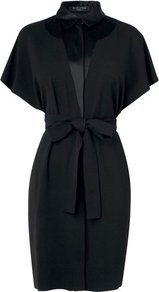 Kallia Satin Trim Dress Black - style: shirt; neckline: shirt collar/peter pan/zip with opening; sleeve style: dolman/batwing; pattern: plain; waist detail: belted waist/tie at waist/drawstring; predominant colour: black; occasions: casual, evening, work; length: just above the knee; fit: body skimming; fibres: polyester/polyamide - stretch; sleeve length: short sleeve; texture group: structured shiny - satin/tafetta/silk etc.; trends: glamorous day shifts; pattern type: fabric; pattern size: standard