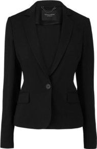 Kallia Satin Trim Jacket Black - pattern: plain; style: single breasted blazer; collar: standard lapel/rever collar; predominant colour: black; occasions: evening, work, occasion; length: standard; fit: tailored/fitted; fibres: wool - mix; waist detail: fitted waist; sleeve length: long sleeve; sleeve style: standard; collar break: medium; pattern type: fabric; pattern size: standard; texture group: woven light midweight