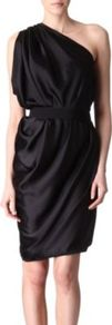 Belted Dress - neckline: v-neck; fit: fitted at waist; pattern: plain; sleeve style: sleeveless; style: asymmetric (top); waist detail: fitted waist, embellishment at waist/feature waistband; bust detail: ruching/gathering/draping/layers/pintuck pleats at bust; predominant colour: black; occasions: evening, occasion; length: just above the knee; fibres: silk - 100%; hip detail: soft pleats at hip/draping at hip/flared at hip; shoulder detail: asymmetric shoulder detail/one shoulder, flat/draping pleats/ruching/gathering at shoulder; sleeve length: sleeveless; texture group: structured shiny - satin/tafetta/silk etc.; pattern type: fabric