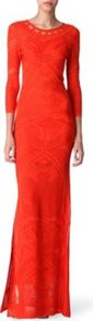 Crochet Knit Maxi Dress - neckline: round neck; pattern: plain; style: maxi dress; predominant colour: bright orange; occasions: evening, occasion; length: floor length; fit: body skimming; back detail: keyhole/peephole detail at back; sleeve length: 3/4 length; sleeve style: standard; texture group: knits/crochet; pattern type: knitted - other; fibres: viscose/rayon - mix