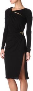 Cut Out Dress - style: shift; neckline: low v-neck; pattern: plain; waist detail: fitted waist, embellishment at waist/feature waistband, twist front waist detail/nipped in at waist on one side/soft pleats/draping/ruching/gathering waist detail; hip detail: fitted at hip, slits at hip; bust detail: ruching/gathering/draping/layers/pintuck pleats at bust, knot twist front detail at bust; predominant colour: black; occasions: evening, occasion; length: on the knee; fit: body skimming; fibres: polyester/polyamide - 100%; sleeve length: long sleeve; sleeve style: standard; pattern type: fabric; texture group: jersey - stretchy/drapey