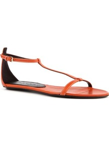 Haymarket Leather Sandals - predominant colour: bright orange; occasions: casual, holiday; material: leather; heel height: flat; embellishment: buckles; ankle detail: ankle strap; heel: standard; toe: open toe/peeptoe; style: strappy; trends: fluorescent; finish: plain; pattern: patterned/print, plain