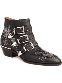 Banshee Leather Ankle Boots - predominant colour: black; occasions: casual; material: leather; heel height: mid; embellishment: studs; heel: block; toe: pointed toe; boot length: ankle boot; style: cowboy; trends: metallics; finish: plain; pattern: plain