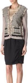 Tweed Cardigan - neckline: low v-neck; predominant colour: stone; occasions: casual, work; length: standard; style: standard; fibres: linen - 100%; fit: standard fit; sleeve length: long sleeve; sleeve style: standard; texture group: knits/crochet; pattern type: fabric; pattern size: standard; embellishment: fringing