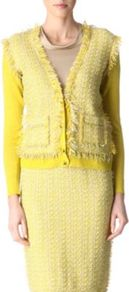 Tweed Cardigan - neckline: low v-neck; predominant colour: yellow; occasions: casual, work; length: standard; style: standard; fibres: linen - 100%; fit: slim fit; sleeve length: long sleeve; sleeve style: standard; pattern type: fabric; pattern size: standard; texture group: tweed - bulky/heavy; embellishment: fringing