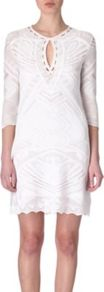 Crochet Dress - style: shift; length: mid thigh; pattern: plain, patterned/print; waist detail: fitted waist; predominant colour: white; occasions: casual, evening, occasion, holiday; fit: body skimming; neckline: peep hole neckline; fibres: cotton - mix; sleeve length: 3/4 length; sleeve style: standard; texture group: knits/crochet; pattern type: knitted - other