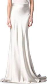 Silk Satin Fishtail Skirt - pattern: plain; fit: body skimming; waist detail: fitted waist, narrow waistband; hip detail: fitted at hip; waist: mid/regular rise; predominant colour: white; occasions: evening, occasion; length: floor length; style: maxi skirt; fibres: silk - 100%; texture group: silky - light; pattern type: fabric