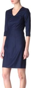 Dilonie Dress - style: shift; neckline: v-neck; fit: tailored/fitted; pattern: plain; predominant colour: navy; occasions: casual, evening, work; length: just above the knee; fibres: wool - 100%; sleeve length: 3/4 length; sleeve style: standard; trends: glamorous day shifts; pattern type: fabric; texture group: woven light midweight