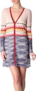 Long Crochet Knit Cardigan - neckline: low v-neck; pattern: horizontal stripes, patterned/print; occasions: casual, work; style: standard; fibres: cotton - mix; fit: standard fit; length: mid thigh; predominant colour: multicoloured; sleeve length: long sleeve; sleeve style: standard; texture group: knits/crochet; pattern type: knitted - other; pattern size: standard