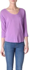 Jersey Back Top - neckline: v-neck; pattern: plain; predominant colour: lilac; occasions: casual; length: standard; style: top; fibres: polyester/polyamide - 100%; fit: body skimming; sleeve length: 3/4 length; sleeve style: standard; texture group: jersey - stretchy/drapey