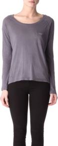 Light Jersey Top - neckline: round neck; pattern: plain; style: t-shirt; bust detail: pocket detail at bust; predominant colour: charcoal; occasions: casual; length: standard; fibres: cotton - 100%; fit: loose; sleeve length: long sleeve; sleeve style: standard; pattern type: fabric; texture group: jersey - stretchy/drapey