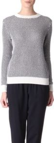 Ferlise Jumper - style: standard; occasions: casual, work; length: standard; fibres: cotton - mix; fit: standard fit; neckline: crew; sleeve length: long sleeve; sleeve style: standard; texture group: knits/crochet; predominant colour: monochrome; pattern type: knitted - other; pattern size: small & busy; pattern: patterned/print