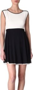 Nix Nights Dress - length: mid thigh; neckline: slash/boat neckline; sleeve style: sleeveless; predominant colour: ivory; secondary colour: navy; occasions: casual, evening, work; fit: fitted at waist &amp; bust; style: fit &amp; flare; fibres: viscose/rayon - stretch; sleeve length: sleeveless; trends: volume; pattern type: fabric; pattern size: standard; pattern: colourblock; texture group: jersey - stretchy/drapey