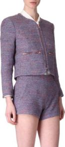 Rainbow Tweed Jacket - collar: round collar/collarless; style: boxy; pattern: herringbone/tweed; predominant colour: lilac; occasions: casual, evening, work, occasion; length: standard; fit: straight cut (boxy); fibres: polyester/polyamide - mix; sleeve length: long sleeve; sleeve style: standard; collar break: high; pattern type: fabric; pattern size: standard; texture group: tweed - light/midweight