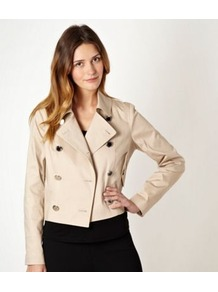 Natural Cropped Trench Jacket - pattern: plain; length: standard; style: double breasted; collar: standard lapel/rever collar; predominant colour: stone; occasions: casual; fit: straight cut (boxy); fibres: cotton - mix; sleeve length: long sleeve; sleeve style: standard; collar break: high/illusion of break when open; pattern type: fabric; texture group: other - light to midweight