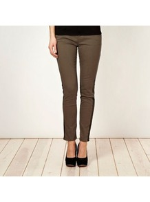 Khaki Faux Leather Trimmed Slim Leg Jeans - length: standard; pattern: plain; pocket detail: traditional 5 pocket; style: slim leg; waist: mid/regular rise; predominant colour: khaki; secondary colour: black; occasions: casual, evening, work; fibres: cotton - stretch; texture group: denim; pattern type: fabric; embellishment: applique