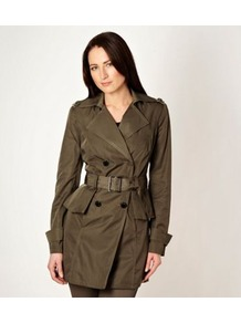 Khaki Peplum Ruffled Mac - pattern: plain; style: mac; fit: slim fit; collar: standard lapel/rever collar; length: mid thigh; predominant colour: khaki; occasions: casual, work; fibres: polyester/polyamide - 100%; waist detail: belted waist/tie at waist/drawstring; sleeve length: long sleeve; sleeve style: standard; collar break: medium; pattern type: fabric; texture group: woven light midweight