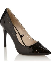 Black Enya Cutout Patent Court Shoes - predominant colour: black; occasions: evening; material: faux leather; heel height: high; heel: stiletto; toe: pointed toe; style: courts; finish: patent; pattern: plain