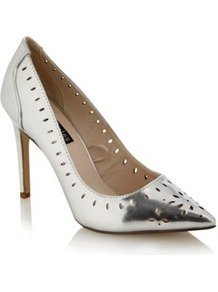 Silver Pointed Toe High Heeled Court Shoe With Cutout Detail - predominant colour: silver; occasions: evening; heel height: high; heel: stiletto; toe: pointed toe; style: courts; finish: metallic