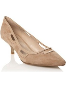 Natural Suede Low Heel Cutout Court Shoes - predominant colour: camel; occasions: occasion; material: suede; heel height: mid; heel: kitten; toe: pointed toe; style: courts; finish: plain; pattern: plain