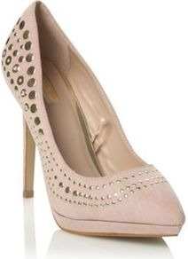 Beige Suedette High Heel Studded Court Shoes - predominant colour: nude; occasions: evening; material: suede; embellishment: studs; heel: platform; toe: pointed toe; style: courts; finish: plain; pattern: plain; heel height: very high
