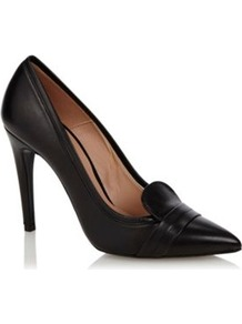Black Leather Pointed Toe High Heeled Court Shoes - predominant colour: black; occasions: evening, work; material: leather; heel height: high; heel: stiletto; toe: pointed toe; style: courts; finish: plain; pattern: plain