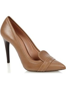 Brown Leather Pointed Toe High Heeled Court Shoes - predominant colour: tan; occasions: evening, work; material: leather; heel height: high; heel: stiletto; toe: pointed toe; style: courts; finish: plain; pattern: plain