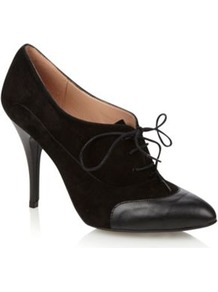 Black Suede Lace Up High High Heeled Court Shoes With Capped Toe - predominant colour: black; occasions: evening, work; material: suede; heel height: mid; heel: stiletto; toe: round toe; style: courts; finish: plain; pattern: plain; embellishment: toe cap