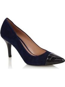 Navy Blue Suede High Heeled Court Shoes With Capped Pointed Toe - predominant colour: navy; secondary colour: black; occasions: evening, work; material: suede; heel height: high; heel: stiletto; toe: pointed toe; style: courts; finish: plain; pattern: plain; embellishment: toe cap