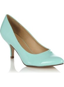 Light Green Patent Pointed Toe Mid Heel Roessing Court Shoes - predominant colour: turquoise; occasions: evening, work, occasion; material: faux leather; heel height: mid; heel: kitten; toe: round toe; style: courts; finish: patent; pattern: plain