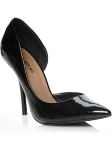 Black Schapp Pointed Court Shoes - predominant colour: black; occasions: evening, work, occasion; material: leather; heel height: high; heel: stiletto; toe: pointed toe; style: courts; finish: patent; pattern: plain