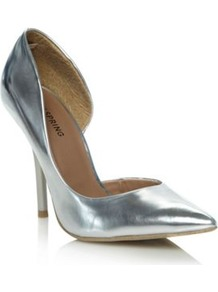 Silver Schapp Pointed Court Shoes - predominant colour: silver; occasions: evening, occasion; material: faux leather; heel height: high; heel: stiletto; toe: pointed toe; style: courts; trends: metallics; finish: metallic; pattern: plain
