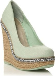 Light Green Canvas Round Toe Weslia High Heeled Wedge Sandals - predominant colour: pistachio; occasions: casual, evening, work, holiday; material: fabric; heel height: high; embellishment: embroidered; heel: wedge; toe: round toe; style: courts; trends: modern geometrics; finish: plain; pattern: patterned/print, plain